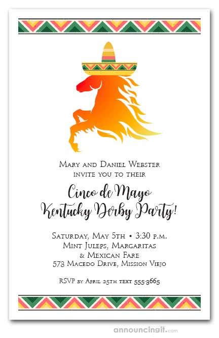 Derby De Mayo Horse And Sombrero Party Invitations