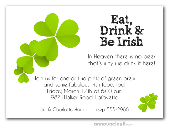 Lucky Clover St. Patrick's Day Party Invitations