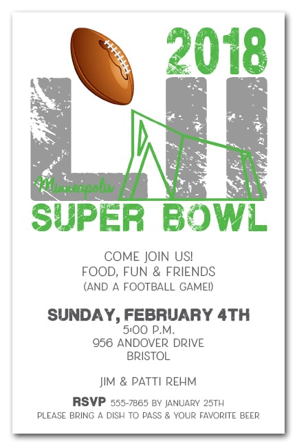Minneapolis Minnesota Super Bowl 52 Party Invitations