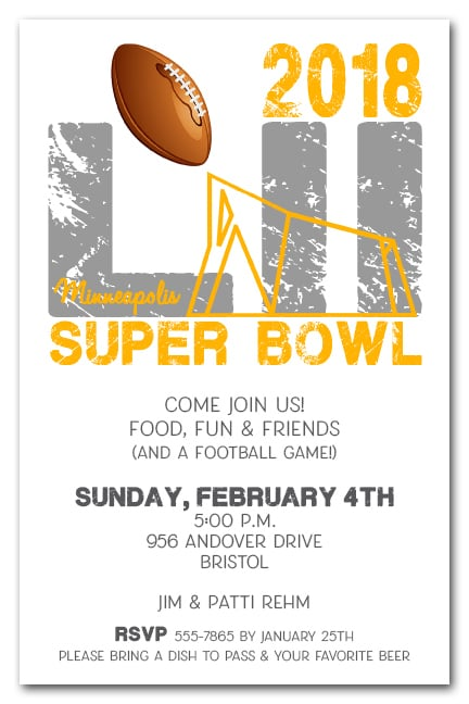 Minneapolis super bowl 52 party invitations for Super bowl party invitation template