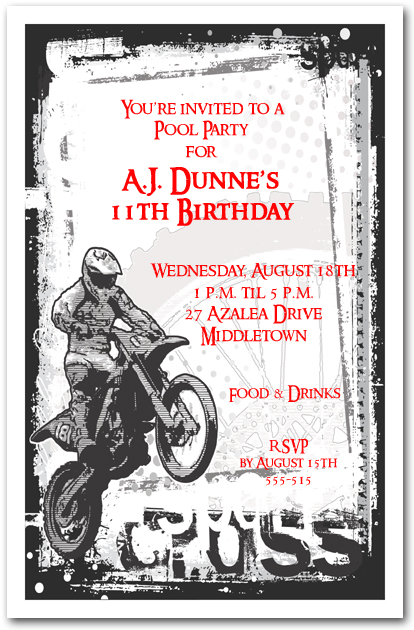 Motocross grunge invitation motorcycle birthday invitation filmwisefo