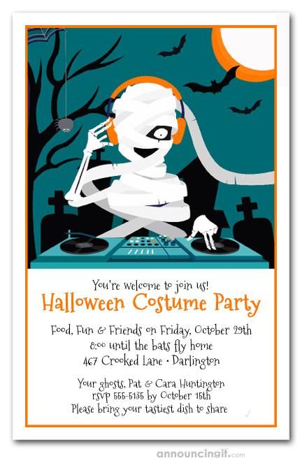 Mummy DJ Halloween Costume Party Invitations