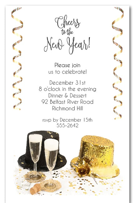 top hats new years eve party invitations