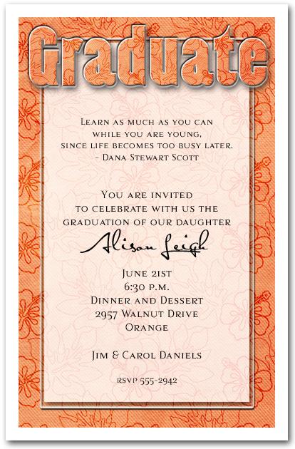 orange hibiscus print graduation party invitation