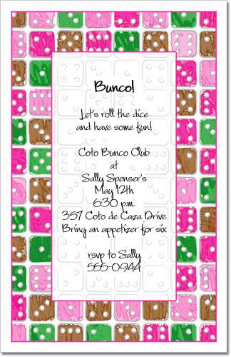 Dice Party Invitation Bunco Invitation Gambling Invitations