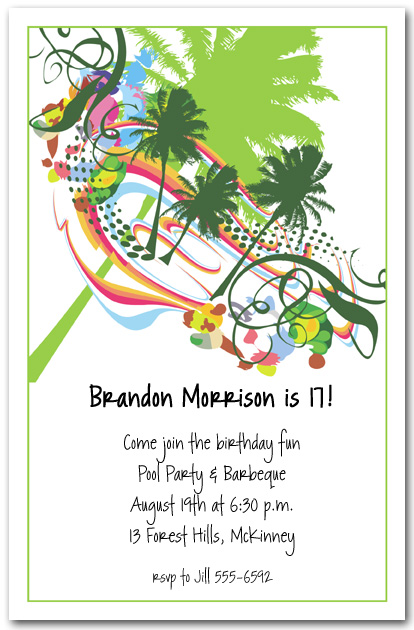 Palm Tree Summer Grunge Invitation