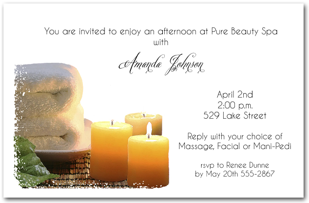 Pampering spa day party invitations pampering spa day stopboris Image collections