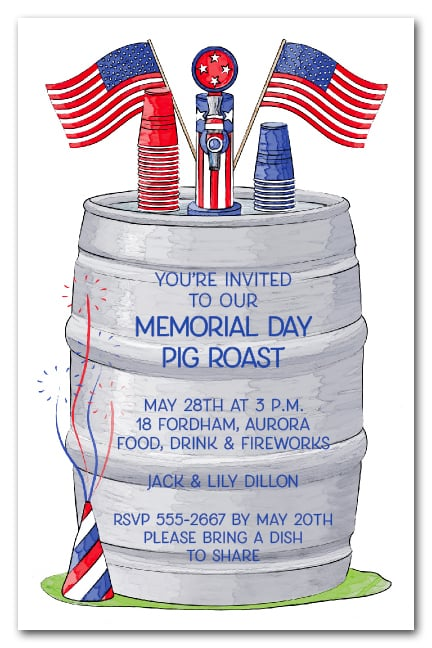Keg 4th Of July Party Invitations