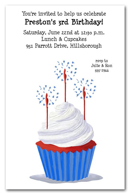 red white and blue cupcake party invitation birthday party invitations