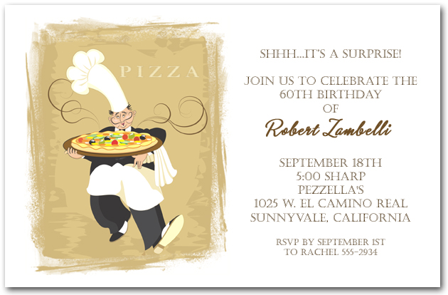 Pizza invitation italian restaurant invitation pizza pie chef stopboris Choice Image