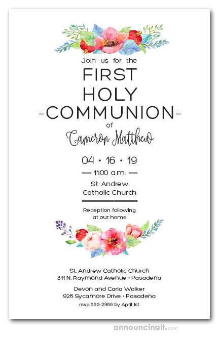 Precious Yellow Floral First Communion Invitations