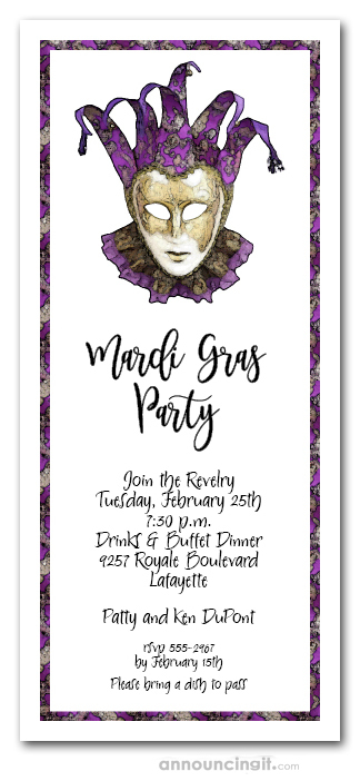 purple  u0026 gold mardi gras mask party invitation  mardi gras