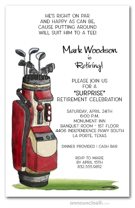 Red Golf Bag Retirement Invitations