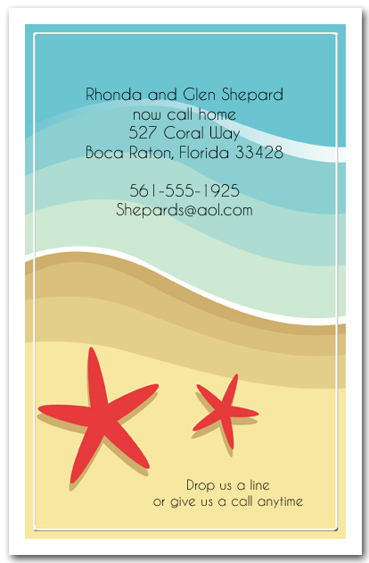 Red starfish on the beach invitations for Moving home cards template