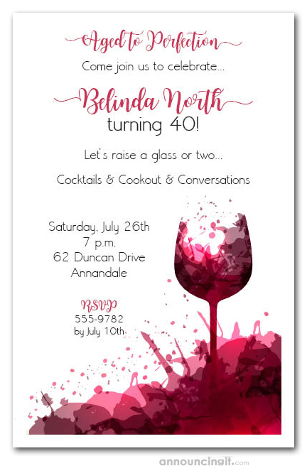 Red Wine Glass Splash Party Invitations