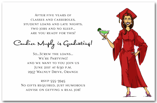 girl margarita graduation party invitations humorous college