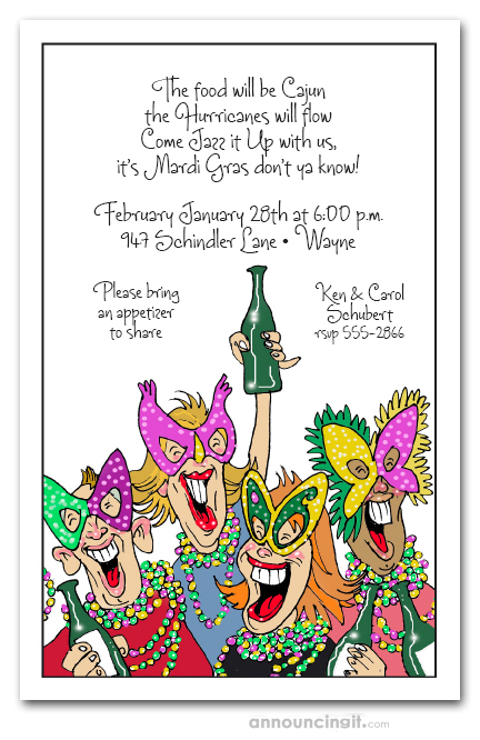 Revelers Mardi Gras Party Invitations