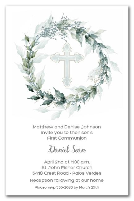 Sage Wreath Amp Blue Cross Invitations Communion Baptism