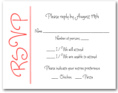 Scarlet On White Rsvp Cards Reply Cards Response Cards