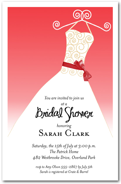 scarlet red ribbon sash on white gown invitations bridal shower invitations birthday invitations