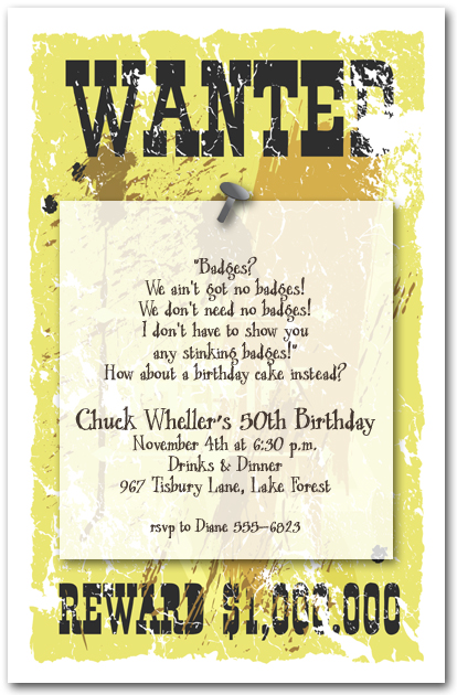 Sheriffs Wanted Poster Invitations Western