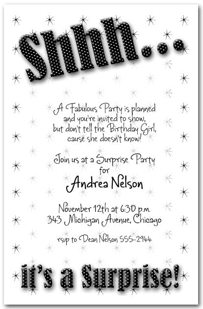 Shhh Black Polka Dot Surprise Party Invitations, Surprise ...