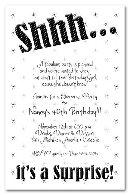 shhh black polka dot surprise party invitations surprise birthday