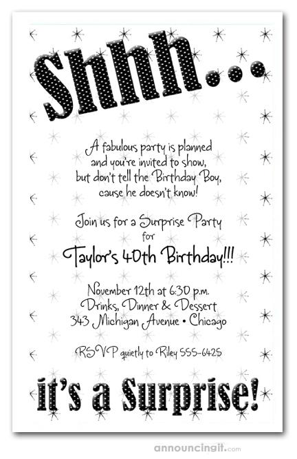 Shhh Black Polka Dot Surprise Birthday