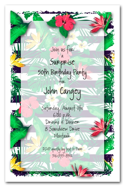 Tropical Flowers On Stripes Birthday Party Invitations