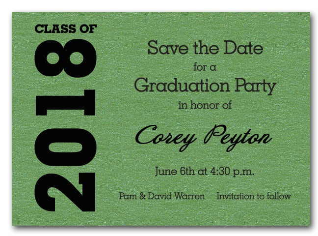Shimmery green graduation save the date cards filmwisefo