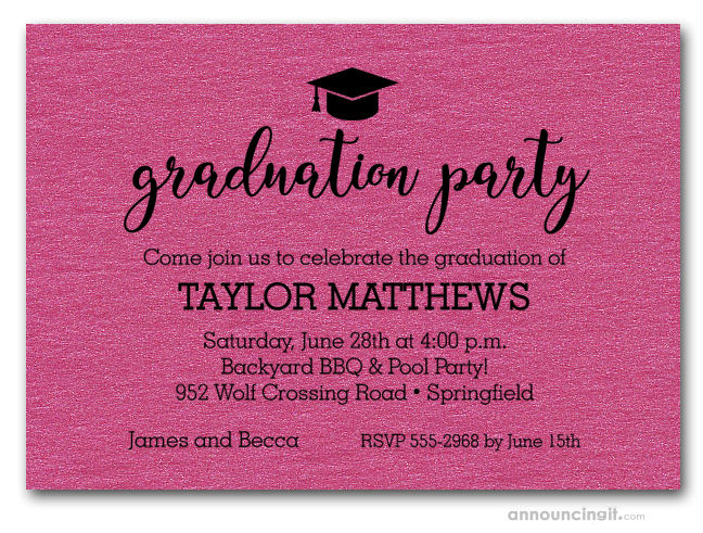 Grad Hat On Shimmery Hot Pink Graduation Party Invitations Or