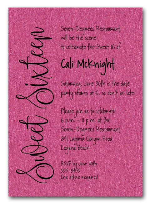Shimmery Hot Pink Sweet Sixteen Birthday Party Invitations