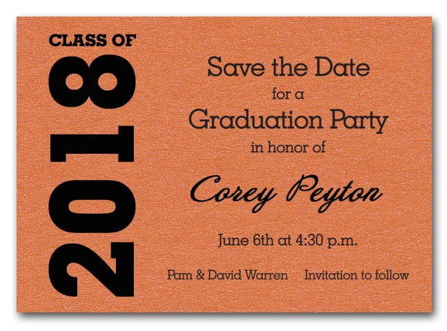 Shimmery orange graduation save the date cards filmwisefo