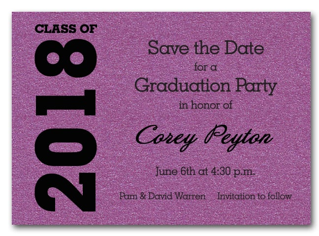 Shimmery purple graduation save the date cards filmwisefo