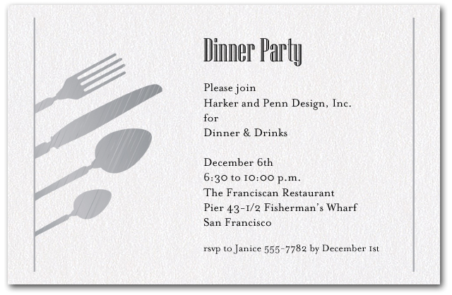 Silver Utensils on Shimmery White Invitations