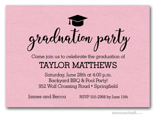 grad hat on shimmery pink graduation party invitations or announcements