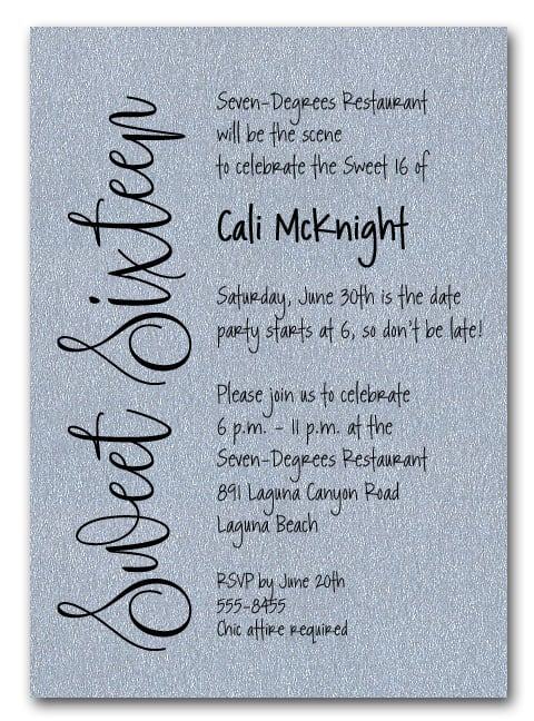 Shimmery Silver Sweet Sixteen Birthday Party Invitations