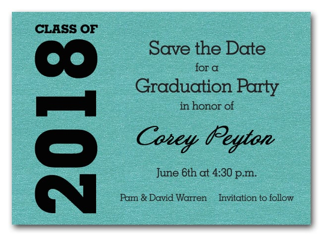 Shimmery turquoise graduation save the date cards filmwisefo
