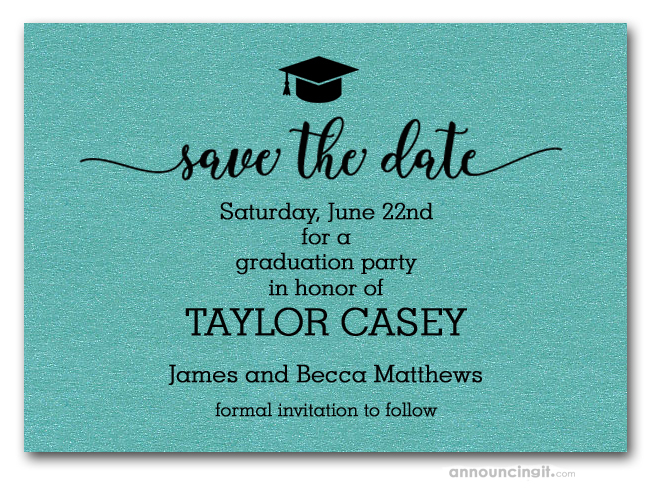 Graduation save the date cards grad hat on turquoise save the date cards filmwisefo