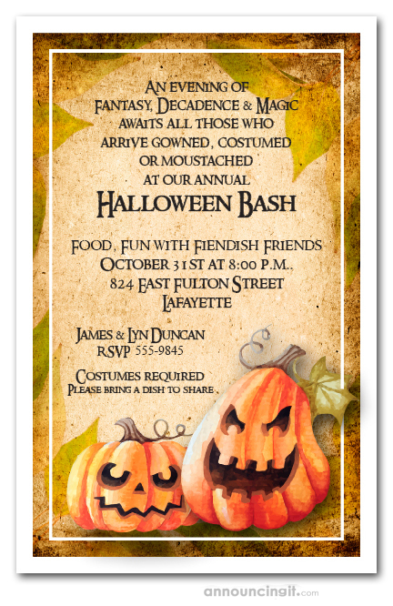 Spooky Pumpkin Patch Fall Halloween Party Invitations