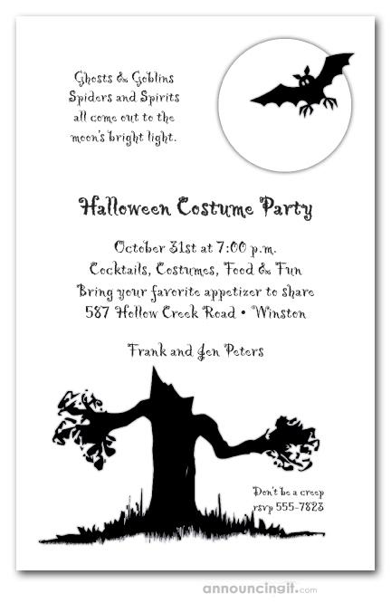 spooky tree halloween invitation halloween birthday invitations