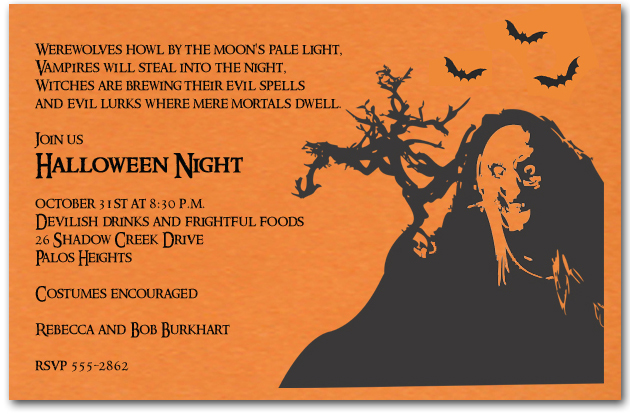 Spooky Witch Silhouette Halloween Invitations