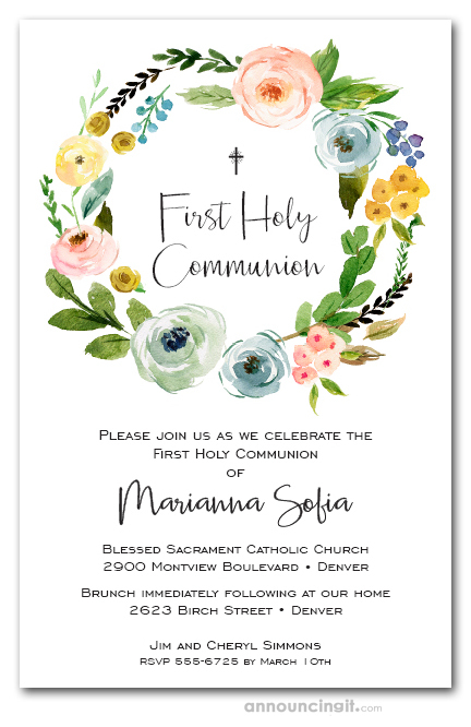 Spring Wreath First Holy Communion Invitations