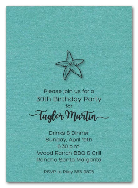 Starfish On Shimmery Turquoise Invitations