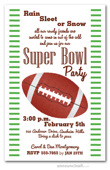Stripes and Football Super Bowl Party Invitations