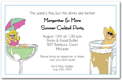 Summer Pool Drinks Invitations Birthday Invitations