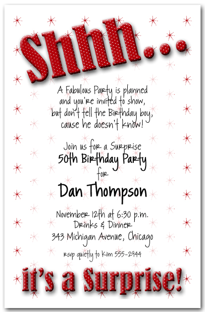 Shhh Red Polka Dot Surprise Party Invitations