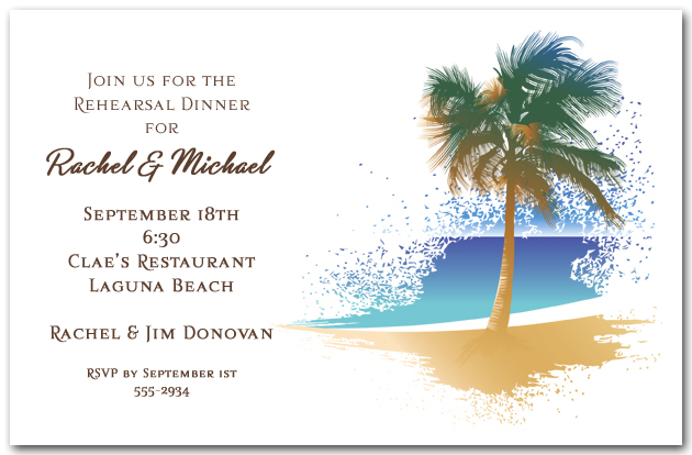 swaying palm on the beach invitation