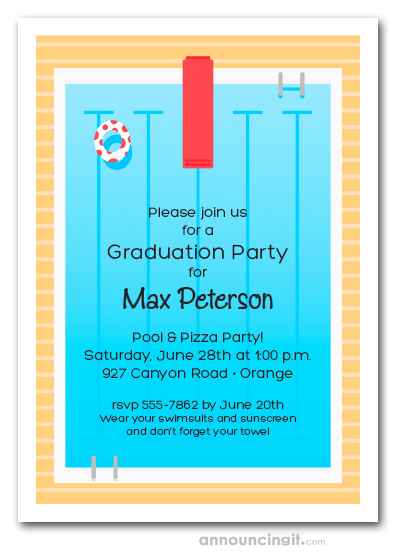 swimming pool deck graduation party invitations
