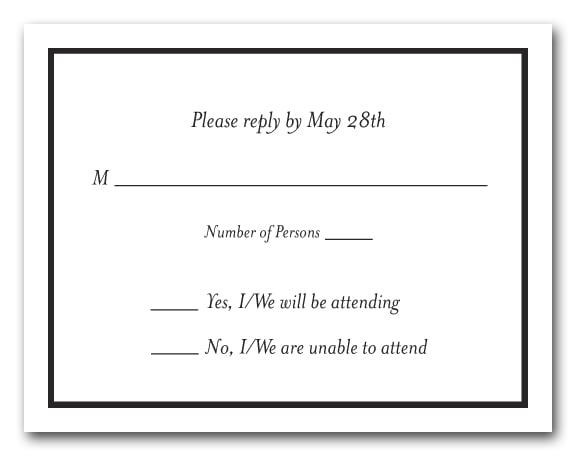 Thin black border rsvp cards black and white reply cards for Define rsvp on invitations